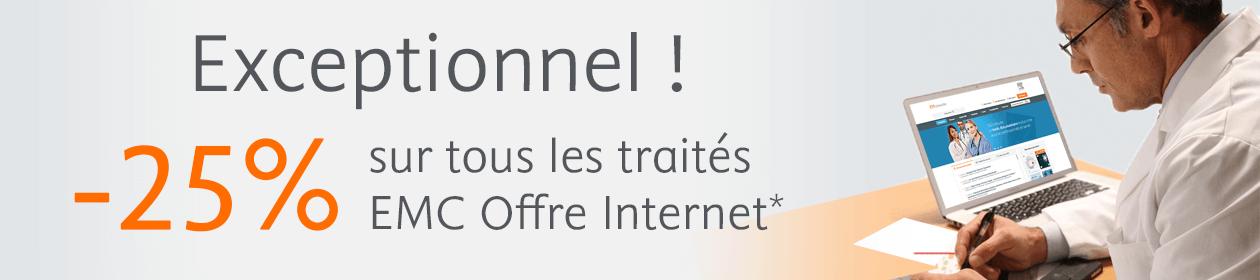 -25% sur tous les traités EMC Offre Internet